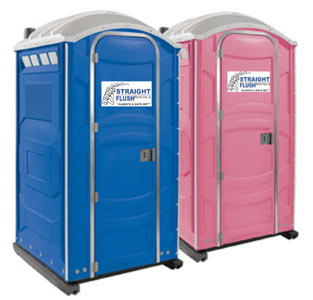 Standard pink and blue porta potty